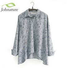 2016 New Women Shirt Cotton Linen Slant Oblique Button White Blue Floral Turn-down Collar Irregular Plus Size Solid Loose Blouse(China (Mainland))