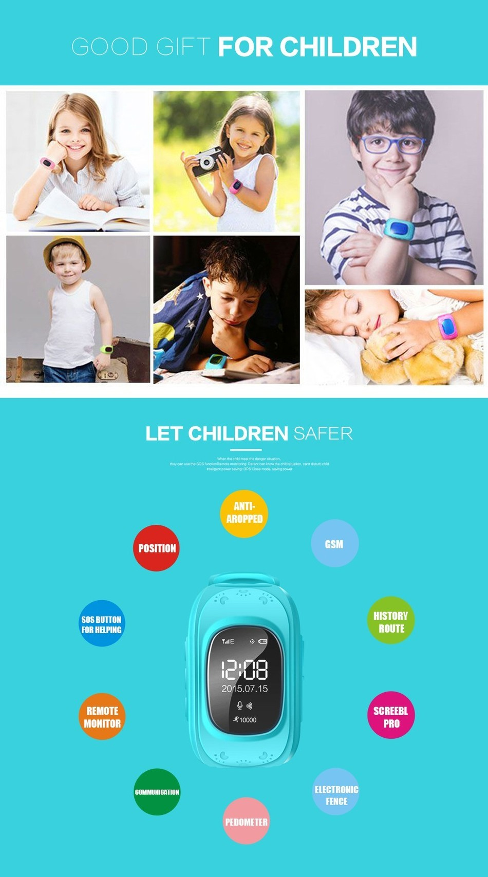 Hot Brand Q50 Smartwatch Anti Lost GPS Tracker For Kids SOS GSM Mobile Phone App For IOS & Android Smart watch Wristband Alarm