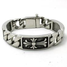 Newest Design Mens Boys 316L Stainless Steel Cool Punk Gothic Cool Cross Bracelet Amazing Design