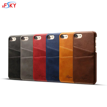 xFSKY 6 Color Fashion European Style Credit Card Holder Soft PU Leather Back Case For iPhone 6 7 4.7 inch iPhone 7 Plus 5.5 inch(China (Mainland))