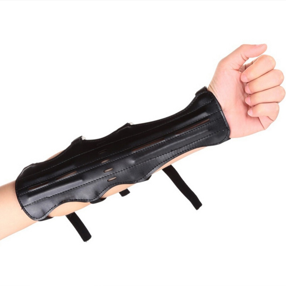 Outdoor Black Lightweight and Durable Leather Shooting Archery Arm Protection Safe Strap Guard Protective Gear