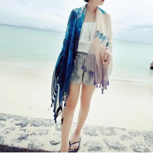 Новый зимнее солнце Barisa бахромой шарфы градиент шарфы хлопка шарф платок поколение жира