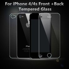 Film on for iPhone 4s 9H front + back for iPhone 4S glass of the screen protection film on the iPhone 4/ 4S Tempered Glass Film
