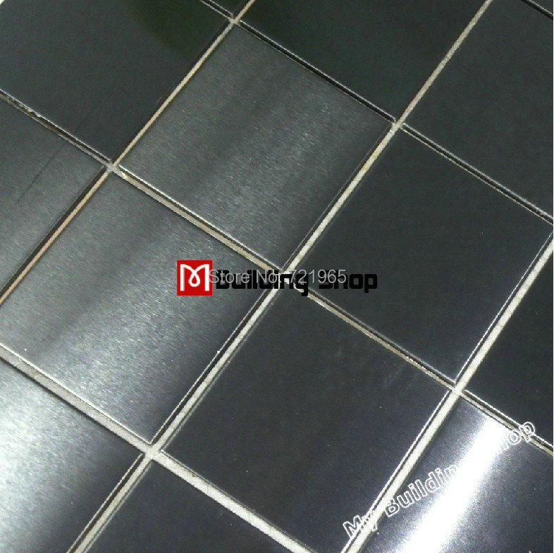 Brush black metal mosaic wall tile backsplash SMMT031 square stainless steel mosaic tile metallic mosaic tiles<br><br>Aliexpress