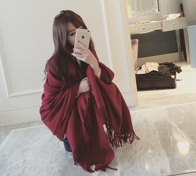 Autumn Winter 2016 Tartan Scarf Desigual Solid Color Vintage Scarf Women Cashmere Basic Shawls Women's Scarves F050-1
