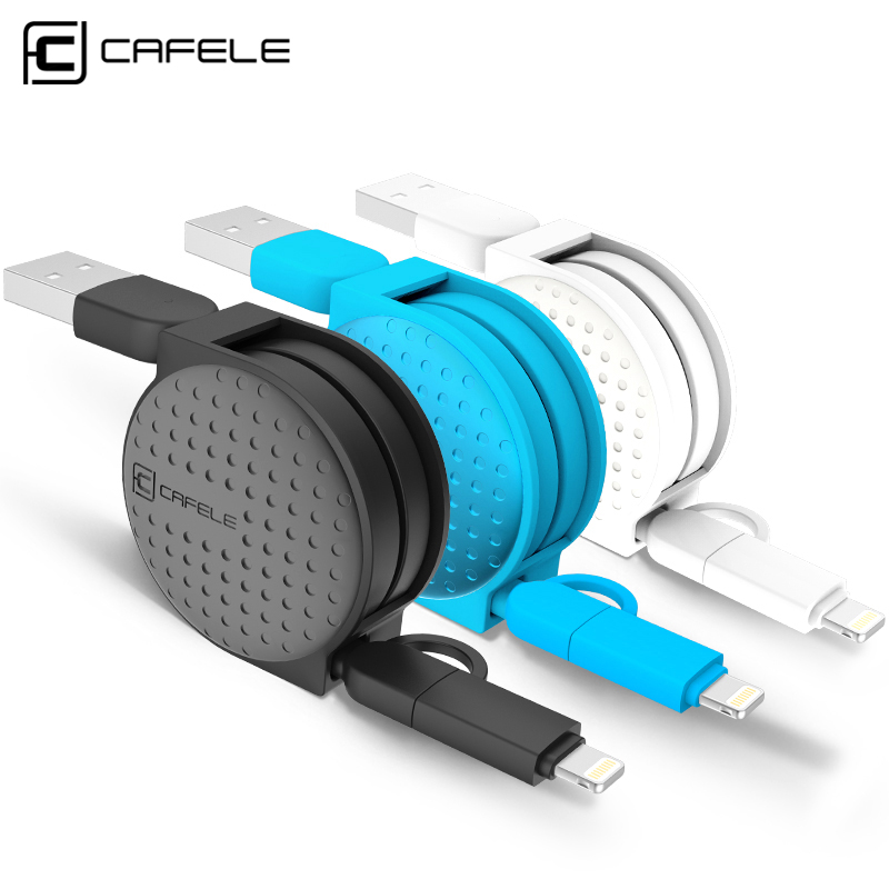 Cafele 1m 2 in 1 Dual Interface Retractable USB Cable For Android Micro for Apple Ios iPhone 5 6 7 plus 8 pin charging cable(China (Mainland))