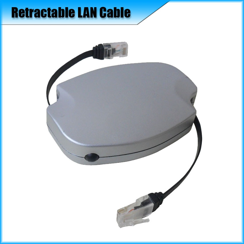 Retractable Ethernet cable with RJ45/RJ45 plug 100M LAN auto Max.length 2.5M (8.2ft) White & Black Color(China (Mainland))