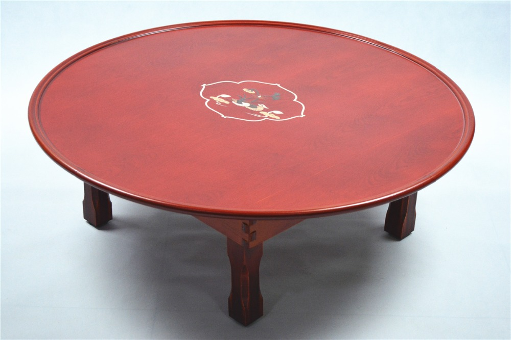 Round Korean Table Folding legs 75cm Asian Antique Furniture Dinning Traditional Floor Low Wooden Coffee Table Space Saving(China (Mainland))