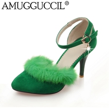 2016 New Arrival Plus Big Size 31-47 Pink Green Black Gray Fur Buckle Fashion Casual High Heel Summer Women Lady Pumps D1081(China (Mainland))