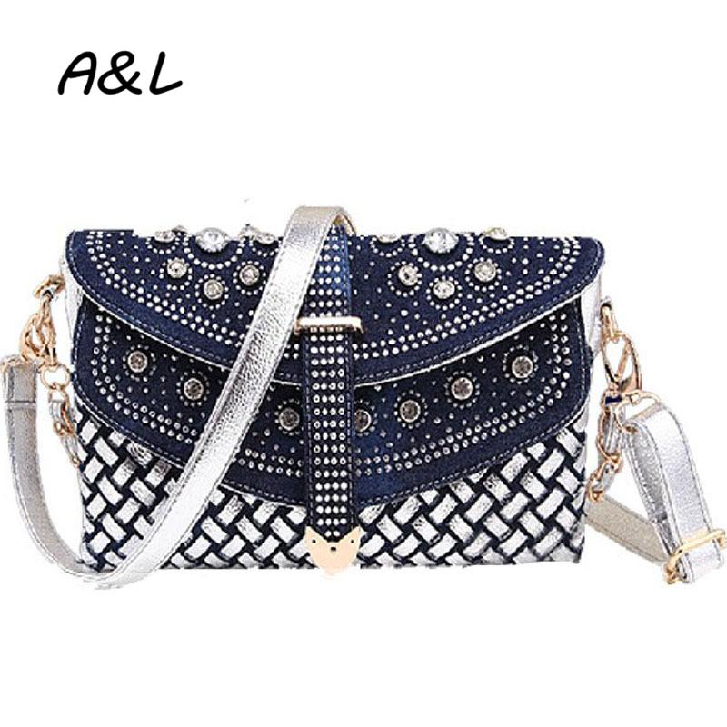 Fashion Women Bag 2016 New Casual Lady Shoulder Bags Designer Handbags Weaving Jean Messenger Bags Rhinestone Denim Totes A0211(China (Mainland))