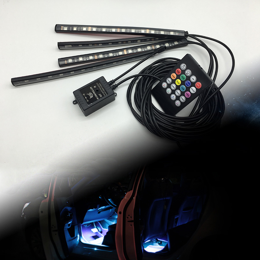 Car Interior Remote Music RGB Control 7 Colors Strip Decorative LED Light for peugeot 307 207 407 206 406 208 308 508 2008 3008(China (Mainland))