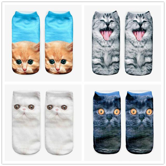 3D socks Harajuku Style Print cat women Socks Casual Socks Unisex Low Cut Ankle Socks