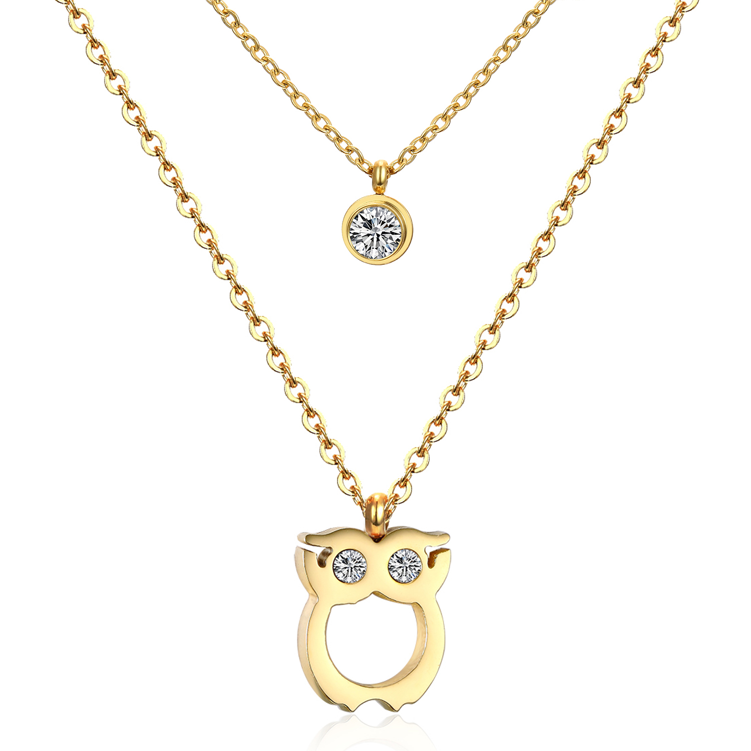 316L Stainless Steel Special Owl Double Chain CZ Diamond Necklace Women's Fashion Jewelry(China (Mainland))