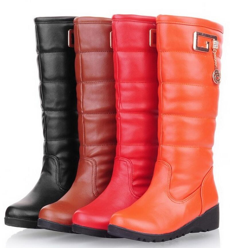 New winter warm wedge heel snow boots calf boots women fashion large size Red Brown Orange Black(China (Mainland))