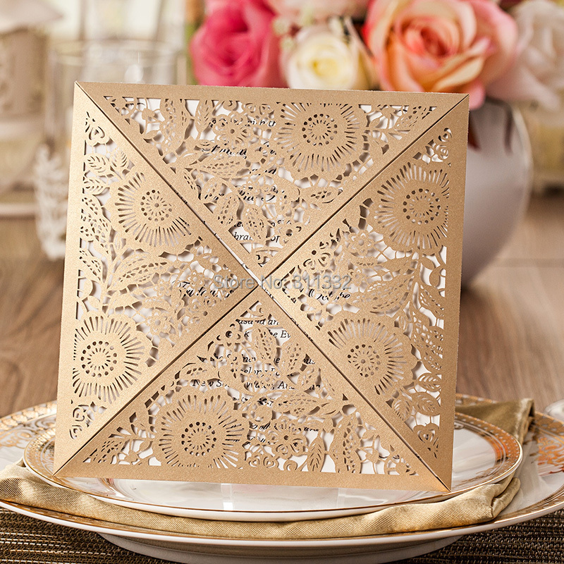 Gold Classical Wedding Invitation Cards Laser Cut Leaves