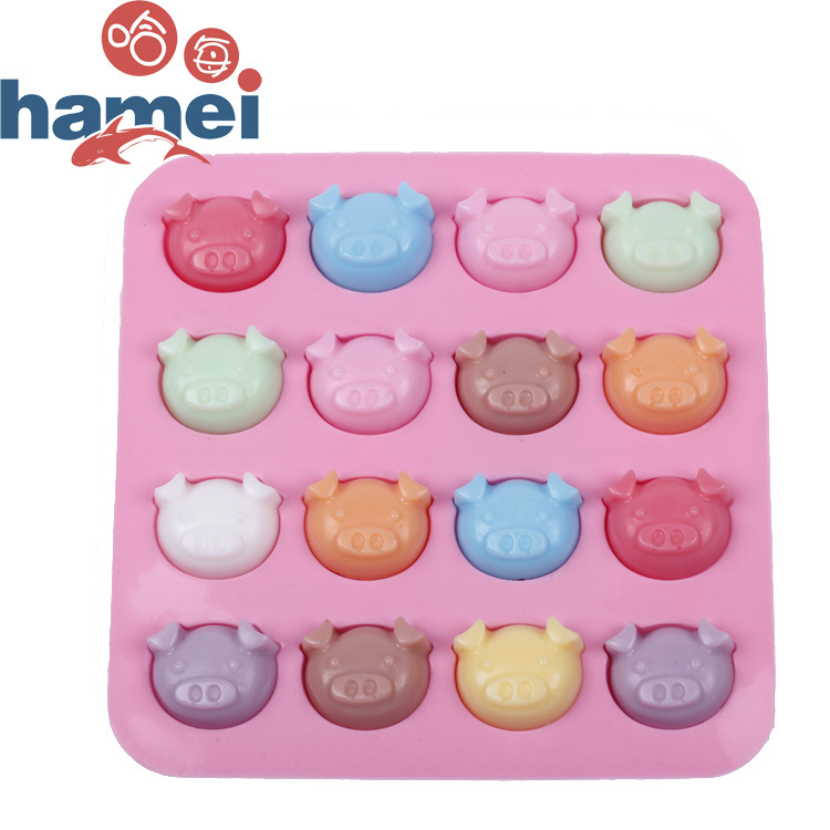 The oven with DIY silicone baking mold new cake mold 16 PigHead Chocolate Mold silica gel Mold form for ice cream cube frozen(China (Mainland))