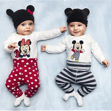 Cute Cartoon Baby Rompers Newborn Infant Cotton Long Sleeve Animal Baby Clothing Set romper+hat+pants for All Boys Girls(China (Mainland))