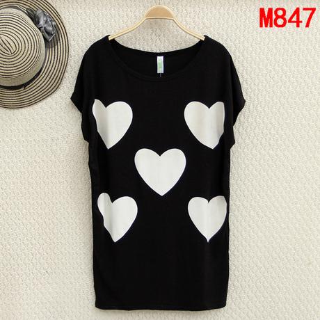 new 2015 summer tshirts wonderful heart printing t-shirt women tops big size clothing XL XXL 3XL 4XL 5XL 6XL t-shirts wholesaler(China (Mainland))