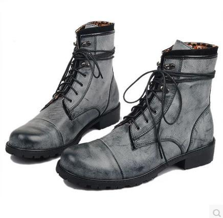 size38-43 fashion men's lace-up black grey suede korean retro trend of martin boots male tidal current vintage boots(China (Mainland))