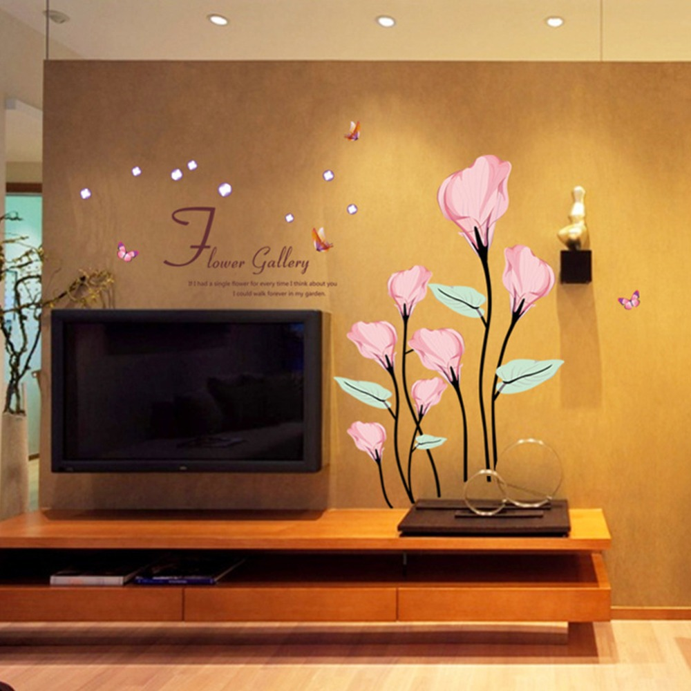 Cute Colorful PVC Removable lovely pink tree pattern wall stickers home decor for home decoration,adesivo de parede