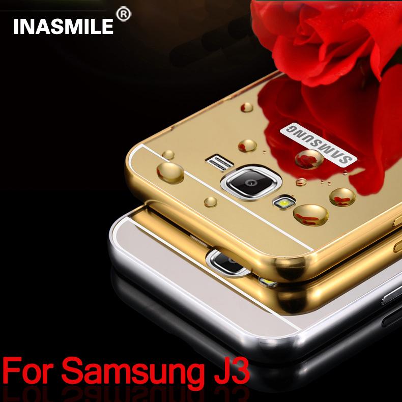 Mirror Case Aluminum Frame+Ultra Slim Metal Case Hard Back Cover for Samsung Galaxy J3 MetalEdge Phone Cover for Samsung J3 Case(China (Mainland))