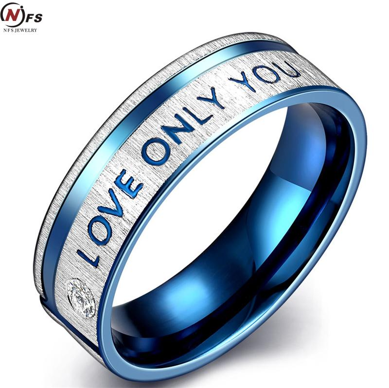 """I LOVE YOU"" Ring Zircon Crystal Wedding Ring Blue Engagement Titanium Steel Rings Romantic Tokens of Love Titanium Steel Ring(China (Mainland))"