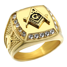 Buy HIP Hop Rock Gold Color 316L Stainless Steel Bling Iced Crystal Freemason Masonic Free Mason Signet Rings Men Jewelry for $4.49 in AliExpress store