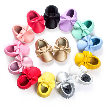 New Fashion 30-Color Tassel Leather Baby Shoes Bowknot Moccasins Baby Toddler Shoes Unisex Newborn Baby Shoes First Walkers 2213