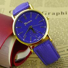 Popular Geneva Roman Numerals Faux Leather Band Analog Quartz More Colors Watches for Men Women NO181 5VBD W2E8D