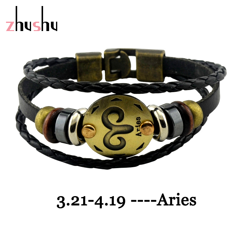 Jewelry Wholesale 12 Constellations Braided Leather Charms Woven Rope Bracelet Metal Belt Buckle Bracelet Birthday Gift()