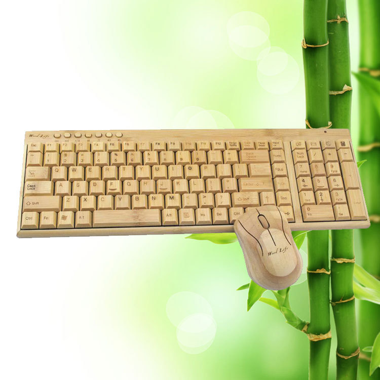 Upscale Wooden Handmade 2.4 Ghz Wireless Bamboo Keyboard Keypad with Wireless Mouse Sets For PC Desktop Computer Business Gift(China (Mainland))
