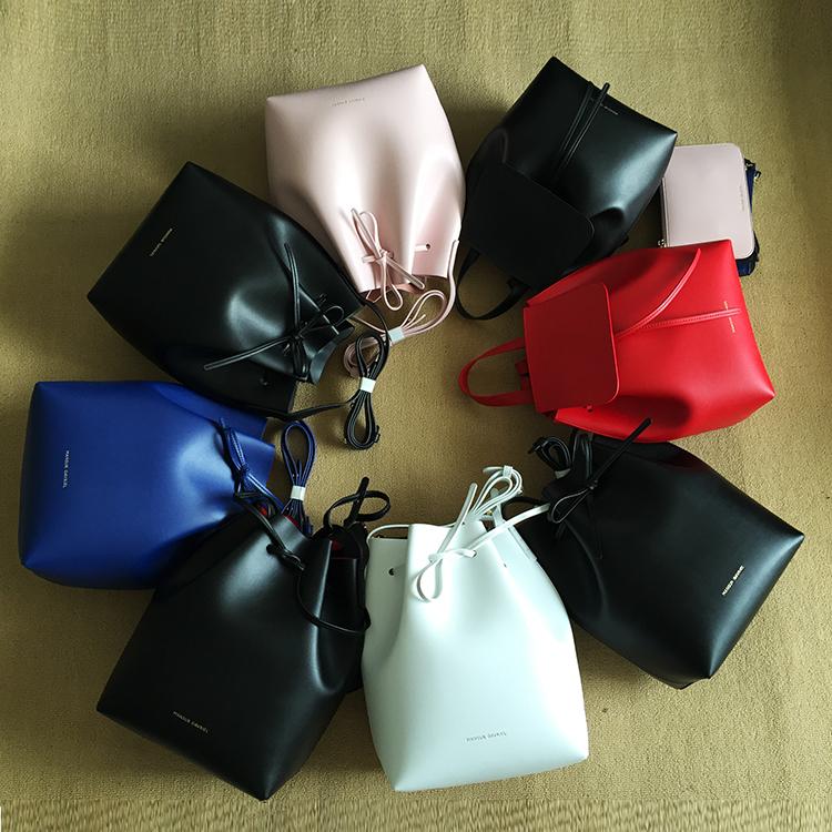 Newest Mansur bucket bag Gavriel women genuine leather hand bag Gavriel real leathe shoulder bag,Logo printed,free shipping(China (Mainland))