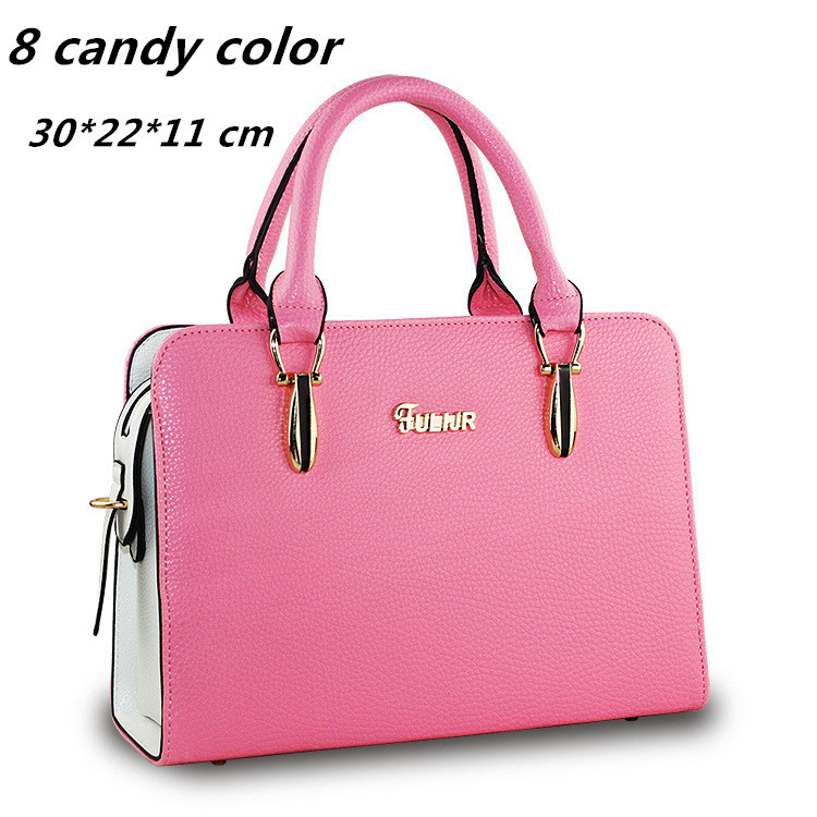 High Quality 2015 European Womens Handbags Candy Color PU Leather Designer Women's Tote Bag Red Black Hand Bags(China (Mainland))