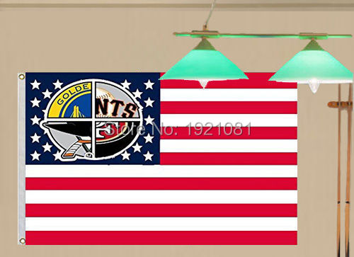 San Fransisco Giants 49ers Sharks Warriors US Star Strip Flag Banner Size3X5FT(China (Mainland))