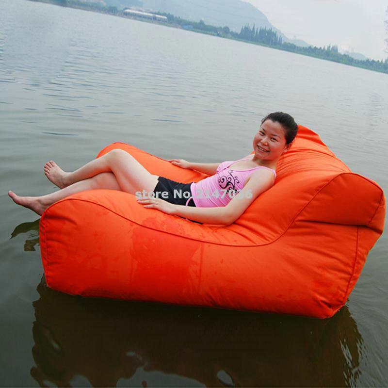 Low price bulk sale sofa style lazy outdoor floating bean bag in orange, HEAVY DUTY bean lounger(China (Mainland))
