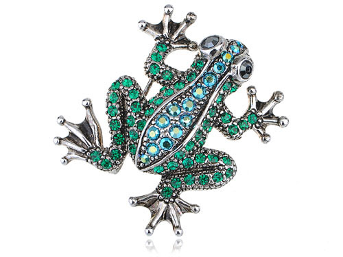 Frog Brooches Emerald Green Crystal Rhinestone Poison Water Frog Toad Silver Tone Pin Brooch(China (Mainland))