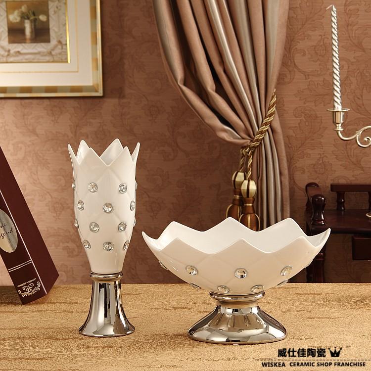Fashion Modern Home Decoration Diamond Vase Ceramic Fruit