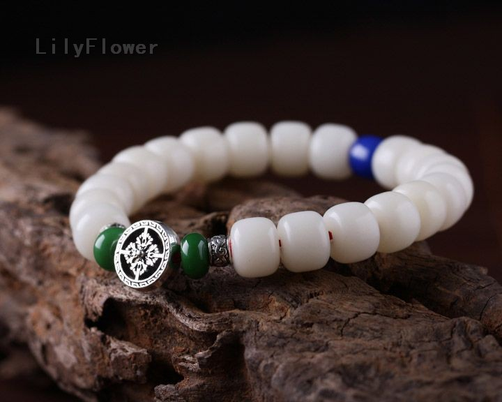 Ethnic 10mm White Budhi Beads 13mm Beeswax Boddhist Prayer Meditation Bracelets Wrist with Tibetan Sliver Accessories for Men(China (Mainland))