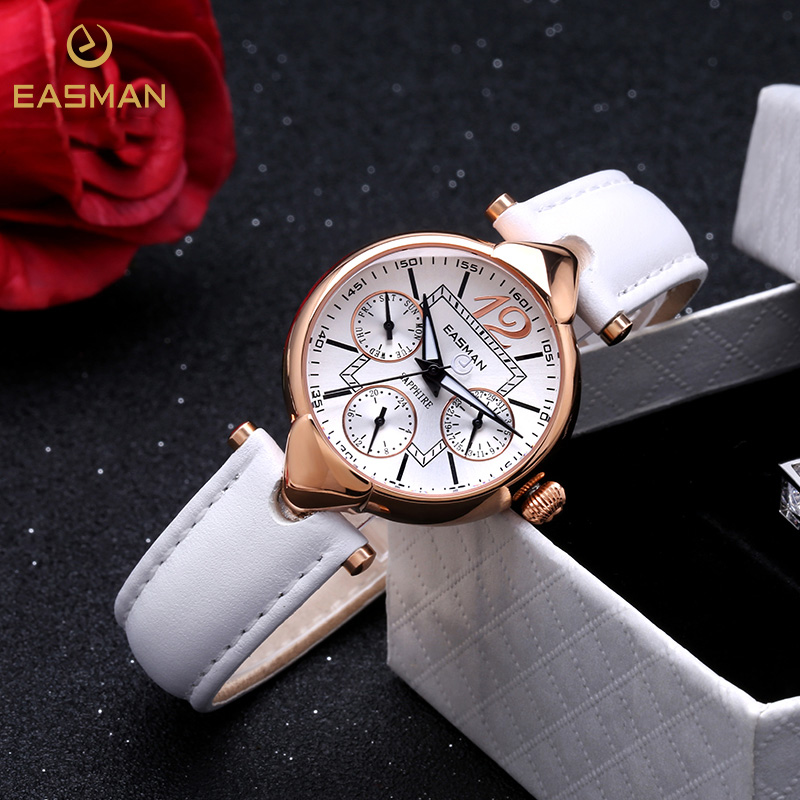 EASMAN Women Watch Noble Fashion White Genuine Leather Luxury Quartz Watch Rose Gold Elegant Ladies Watch Women Wristwatch(China (Mainland))