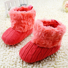 Baby Shoes Infant Crochet Knit Fleece Boots Toddler Girl Boy Wool Snow Crib Shoes Winter Booties Hot(China (Mainland))
