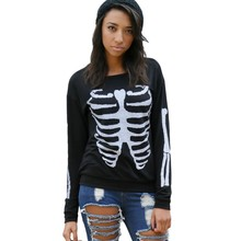 2017 Fashion pullover women long sleeve t shirt sexy casual outfits skeleton print top tees female sweatshirt black white A25930(China (Mainland))
