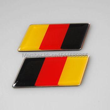 2PCS Aluminum Germany Flag Emblem Badge Sticker for MK7 MK6 Golf CC GTI Jetta Polo