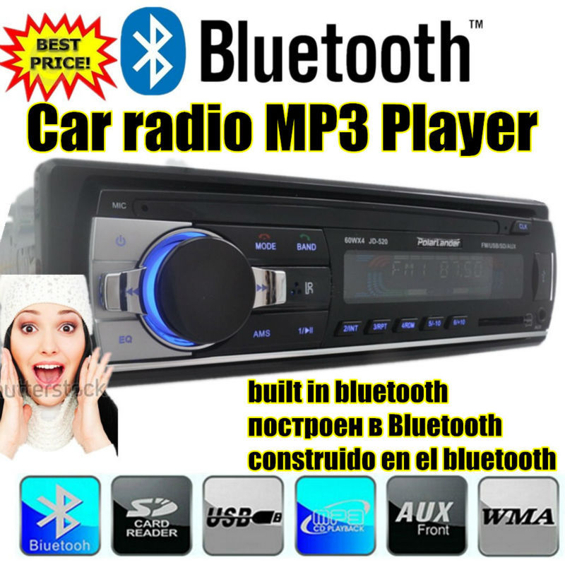 2015 new Car audio bluetooth auto Stereo bluetooth Player support Phone AUX-IN MP3 FM USB 1 Din remote control in dash 12V 520(China (Mainland))