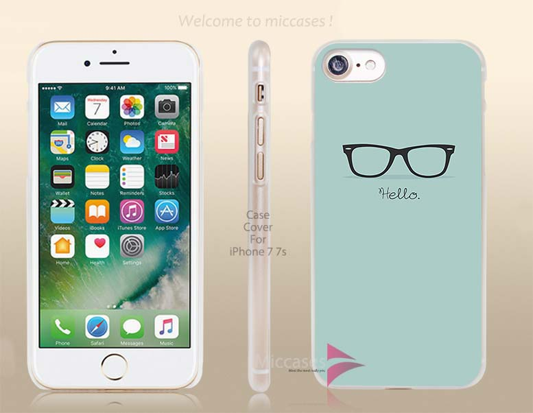 Flat Hipster Glasses Turquoise Hard Clear Cell Phone Case Cover for Apple iPhone 6 6s 7 7s Plus(China (Mainland))
