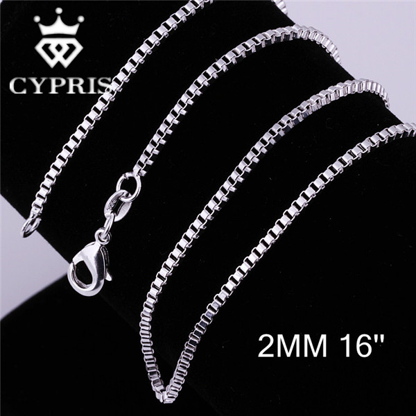 """Lose money promotion Hot C009 16""""18""""20""""22""""24"""" 2mm silver Box Bike Chain Engraved Jewelry Findings accessory wholesale CYPRIS(China (Mainland))"""