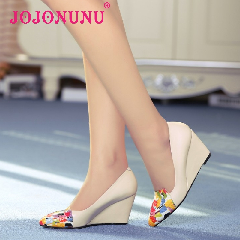 women real genuine leather wedges peep open toe high heel shoes sexy fashion brand pumps ladies heeled shoes size 34-39 R5598<br><br>Aliexpress