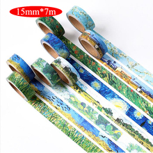 1PCS/PACK 15mm*7m starry night Van Gogh DIY paper washi tape masking color decorative adhesive tapes School Supplies 02466 - 10 dollar Novelty stationery store