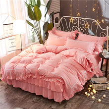 Pink Lace Princess Wedding Bedding sets High quality Home Textile Queen King size fashion Duvet cover set Bed skirt Pillowcases(China)