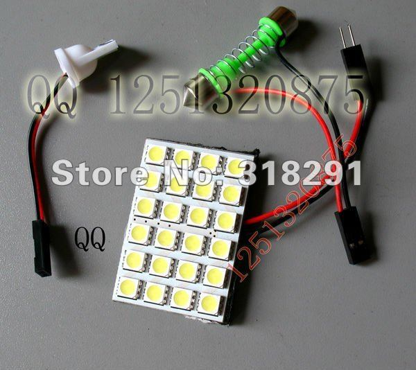 12v  Panel LED Lamp 24 SMD 5050  Interior Room Dome Door Car Light Bulb with 2 Defferent Adapter