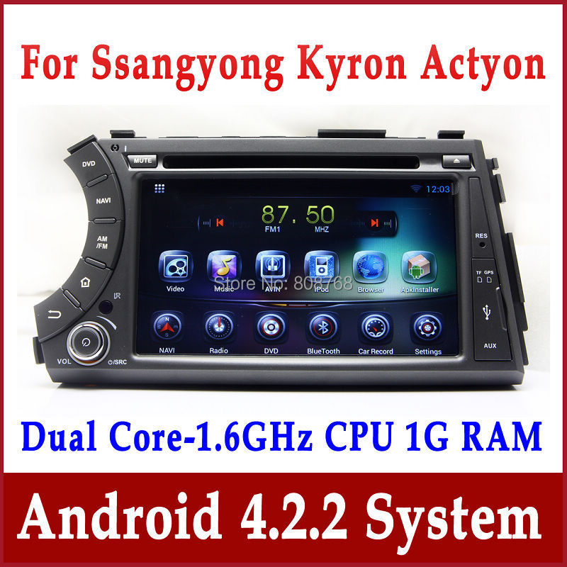 Android 4.2 Head Unit Car DVD Player for Ssangyong Actyon Kyron with GPS Navigation Radio TV BT USB DVR OBD 3G WIFI Audio Stereo(China (Mainland))